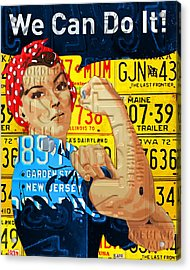 Rosie The Riveter We Can Do It Promotional Poster Recycled License Plate Art Acrylic Print by Design Turnpike