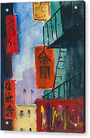 Ross Alley, Chinatown Acrylic Print by Tom Simmons