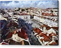 Acrylic Print featuring the photograph Rossio Square by Dariusz Gudowicz