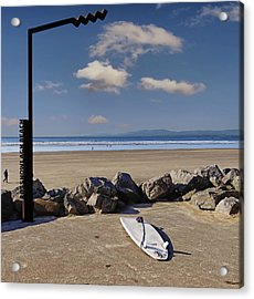 Rossnowlagh Beach On The Wild Atlantic Way With A Surfboard And Rocks Acrylic Print