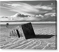 Rossnowlagh Beach - The Old Wartime Fortifications Sinking In The Sand With A Dramatic Sky Acrylic Print