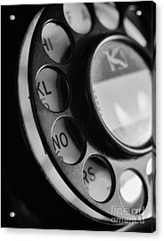 Rotary Dial In Black And White Acrylic Print by Mark Miller