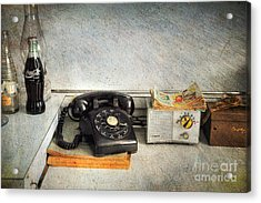 Rotary Dial Phone In Black S And H Stamps Acrylic Print by Paul Ward