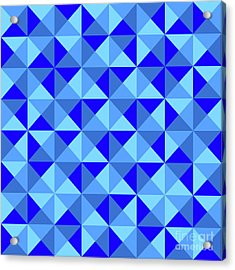 Rotated Blue Triangles Acrylic Print by Ron Brown