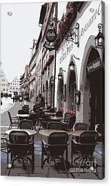 Rothenburg Cafe - Digital Acrylic Print by Carol Groenen