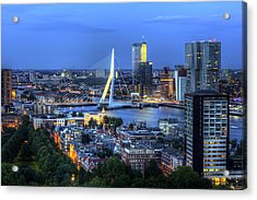 Acrylic Print featuring the photograph Rotterdam Skyline With Erasmus Bridge by Shawn Everhart