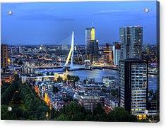 Rotterdam Skyline With Erasmus Bridge Acrylic Print by Shawn Everhart