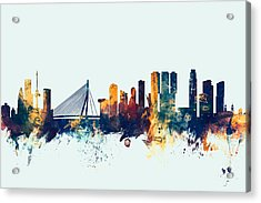 Rotterdam The Netherlands Skyline Acrylic Print by Michael Tompsett