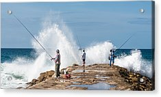Rough Sea Fishing Acrylic Print