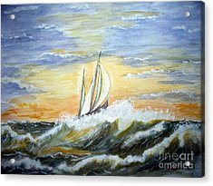 Acrylic Print featuring the painting Rough Seas by Carol Grimes