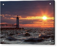 Acrylic Print featuring the photograph Rough Water Sunset by Fran Riley