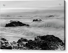 Rough Waves In Black And White Acrylic Print by Masako Metz