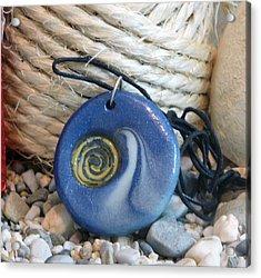 Round Blue Pendant With Spiral Acrylic Print by Chara Giakoumaki