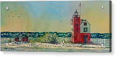 Acrylic Print featuring the painting Round Island Lighthouse by LeAnne Sowa