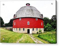 Round Red Barn Acrylic Print by Daniel Ness