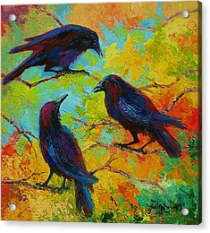 Roundtable Discussion - Crows Acrylic Print by Marion Rose