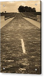 Acrylic Print featuring the photograph Route 66 - Brick Highway 2 Sepia by Frank Romeo