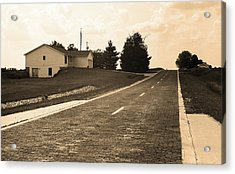 Acrylic Print featuring the photograph Route 66 - Brick Highway Sepia by Frank Romeo