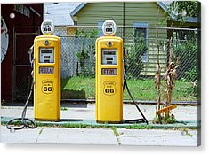 Route 66 - Illinois Gas Pumps Acrylic Print by Frank Romeo