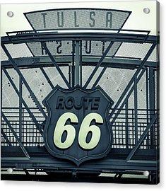 Route 66 Neon Sign - Tulsa - Mixed Tones Acrylic Print