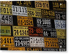 Route 66 Oklahoma Car Tags Acrylic Print by Susanne Van Hulst