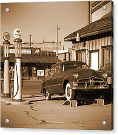 Route 66 - Old Service Station Acrylic Print by Mike McGlothlen