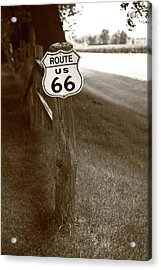 Acrylic Print featuring the photograph Route 66 Shield And Fence Sepia Post by Frank Romeo