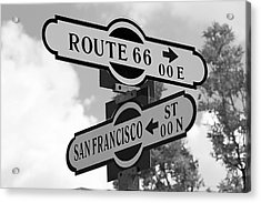 Route 66 Street Sign Black And White Acrylic Print