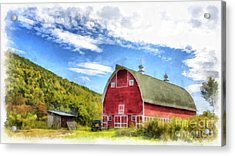 Route Vermont Red Barn Acrylic Print by Edward Fielding