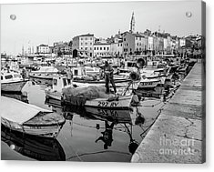 Rovinj Fisherman Working In Old Town Harbor - Rovinj, Istria, Croatia Acrylic Print