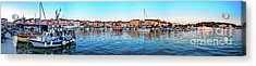 Rovinj Harbor And Boats Panorama Acrylic Print