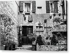Rovinj Old Town Courtyard In Black And White, Rovinj Croatia Acrylic Print
