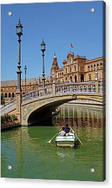 Row Boating In Seville Acrylic Print by Carlos Caetano