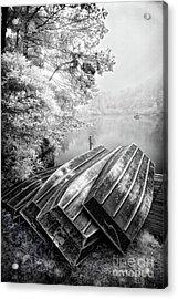 Row Boats On Blue Ridge Parkway Price Lake Bw Acrylic Print by Dan Carmichael