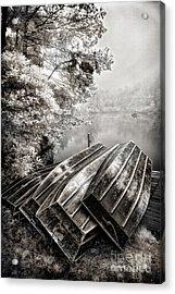 Row Boats On Blue Ridge Parkway Price Lake Bw Fx Acrylic Print by Dan Carmichael