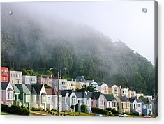 Row Houses In Fog Acrylic Print