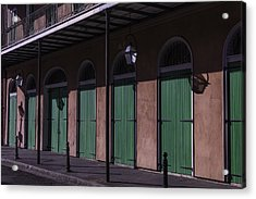 Row Of Green Doors Acrylic Print by Garry Gay