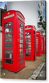 Row Of Phone Booths Acrylic Print by Inge Johnsson