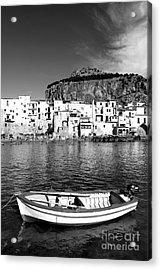 Rowboat Along An Idyllic Sicilian Village. Acrylic Print by Stefano Senise