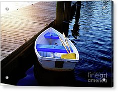 Rowboat At Sunset Acrylic Print by Inspirational Photo Creations Audrey Woods