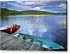Rowboats On Lake At Dusk Acrylic Print by Elena Elisseeva