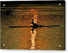 Rowing At Sunset 3 Acrylic Print by Bill Cannon