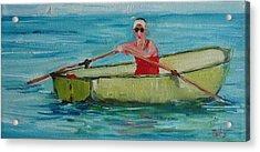 Rowing Away Acrylic Print by Irit Bourla