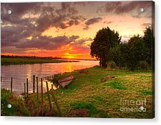 Rowing Boat At Bannfoot Loughneagh Acrylic Print by Kim Shatwell-Irishphotographer