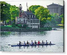 Acrylic Print featuring the photograph Rowing Crew In Philadelphia In The Spring by Bill Cannon