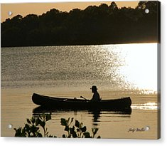 Rowing On The Lake Acrylic Print by Judy  Waller