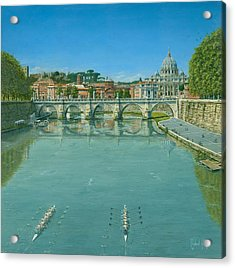 Rowing On The Tiber Rome Acrylic Print by Richard Harpum