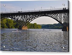 Rowing Under The Strawberry Mansion Bridge Acrylic Print by Bill Cannon