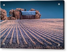 Rows In A Farm Field With Barn And Silo In Infrared Acrylic Print by Randall Nyhof