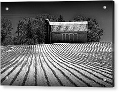 Rows In A Farm Field With Furrows In A Row In Black And White Acrylic Print by Randall Nyhof